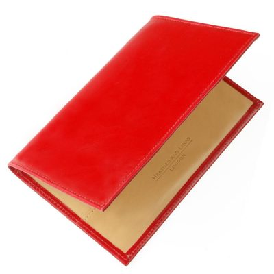 red handmade leather golf scorecards