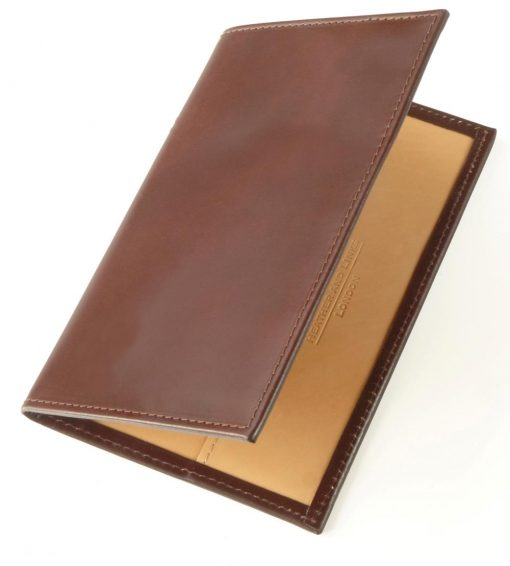 brown handmade leather golf scorecards