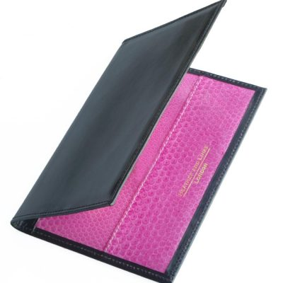 pink handmade leather golf scorecards