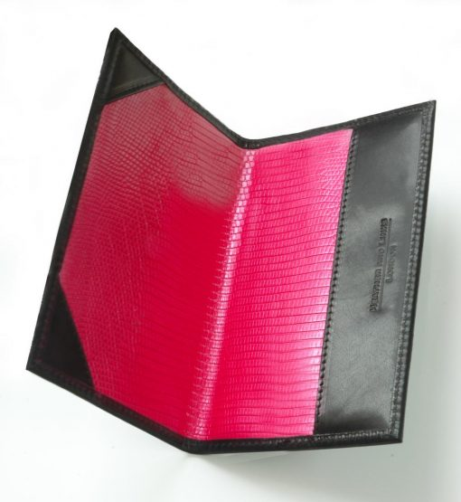 pink lined handmade leather golf scorecards