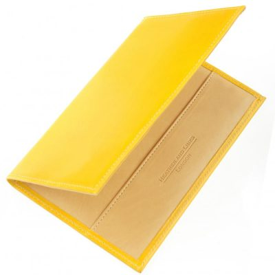 yellow handmade leather golf scorecards