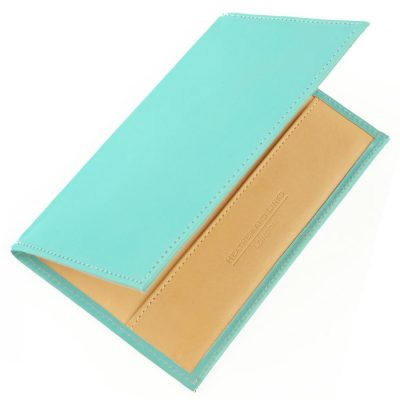 light blue handmade leather golf scorecards
