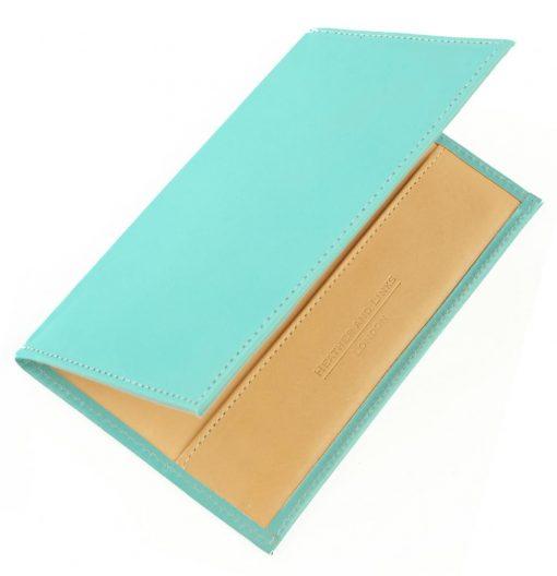 light blue handmade leather golf scorecards