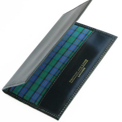 checked handmade leather golf scorecards