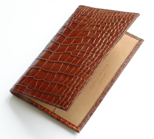 crocodile handmade leather golf scorecards