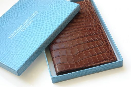 crocodile handmade leather golf scorecards