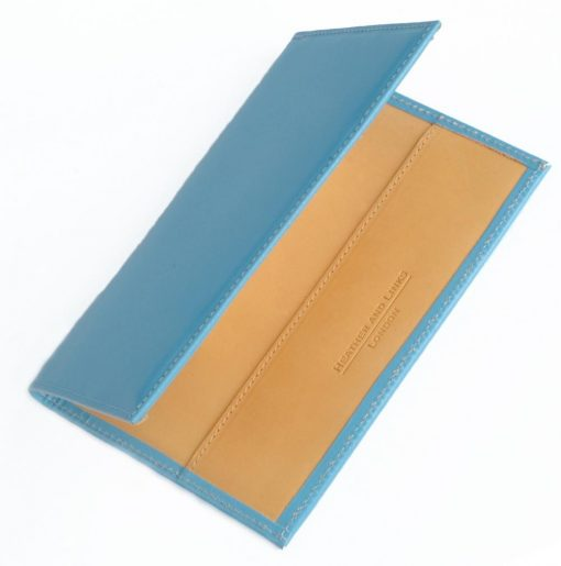 blue handmade leather golf scorecards