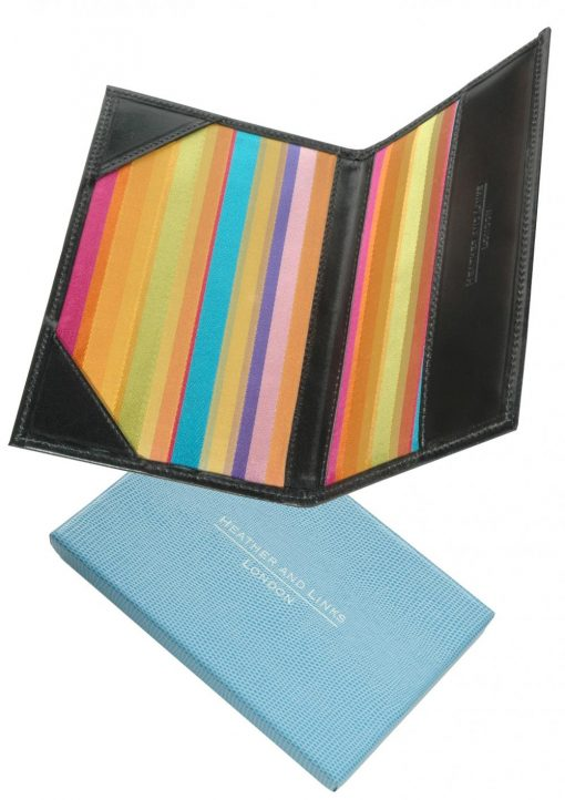 rainbow handmade leather golf scorecards