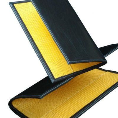 yellow lizard handmade leather golf scorecards