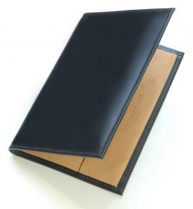 heather and links personalised leather hand made golf scorecard - black bridle
